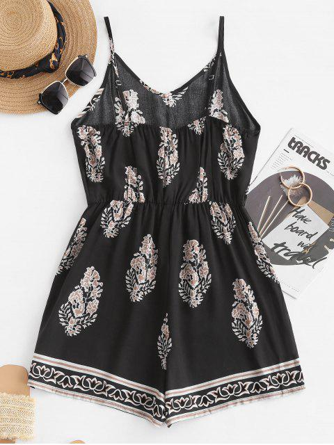fancy Leaf Print Wide Leg Cami Romper - BLACK S Mobile