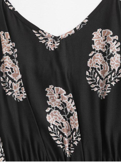 fashion Leaf Print Wide Leg Cami Romper - BLACK M Mobile