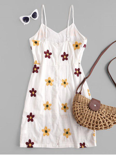 trendy Flower Embroidered Cami Slit Casual Dress - WHITE S Mobile