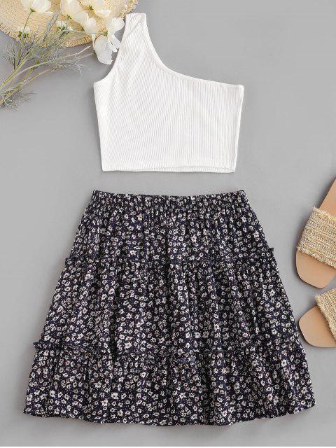 sale Ribbed One Shoulder Ditsy Print Tiered Skirt Set - DEEP BLUE XL Mobile