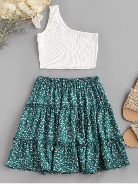 hot Ribbed One Shoulder Ditsy Print Tiered Skirt Set - GREEN XL Mobile