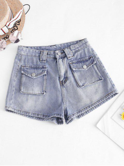 best Zip Fly Cargo Pocket Denim Shorts - BLUE L Mobile