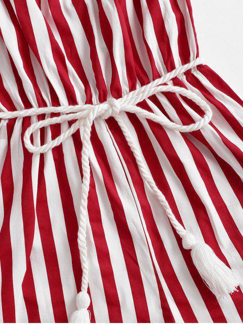 hot Stripes Belted Tassels Strapless Romper - MULTI-M L Mobile