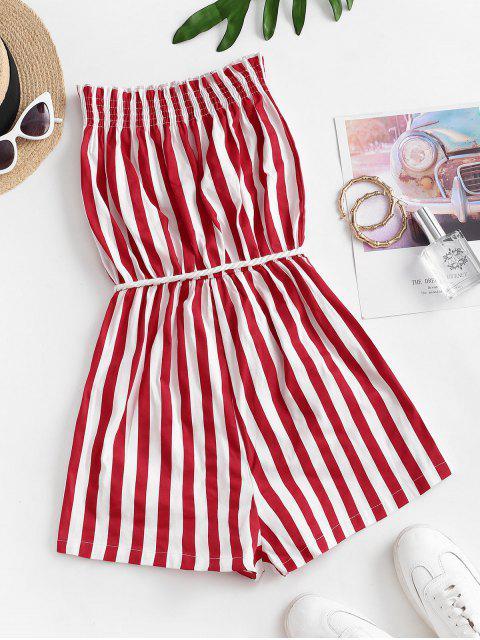 trendy Stripes Belted Tassels Strapless Romper - MULTI-M S Mobile