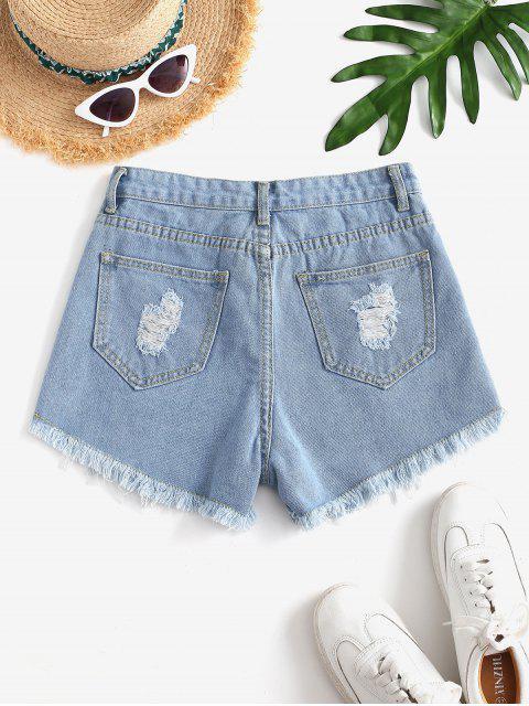 ladies Destroyed Mini Denim Shorts - LIGHT BLUE M Mobile