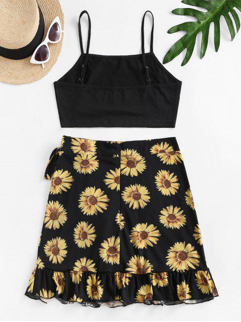 affordable Sunflower Print Ruffle Bowknot Skirt Set - BLACK S Mobile