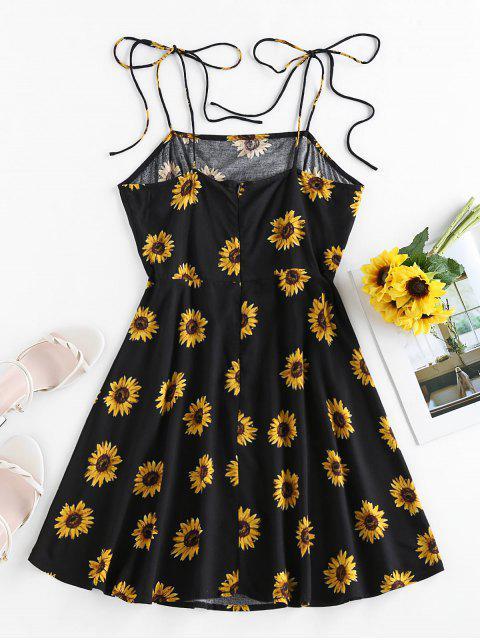 unique ZAFUL Sunflower Print Tie Shoulder Backless Dress - BLACK S Mobile