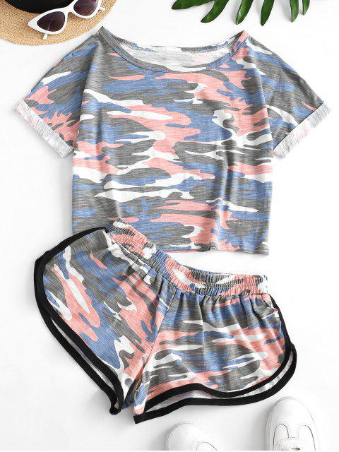 trendy Two Piece Camo Cropped Dolphin Shorts Set - NAVY CAMOUFLAGE M Mobile