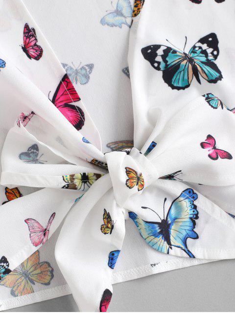 ZAFUL Gebundenes Schmetterling Zugeschnittes Zweiteiler Set - Weiß S Mobile