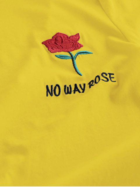 women ZAFUL No Way Rose Embroidered Short Sleeve T-shirt - YELLOW S Mobile