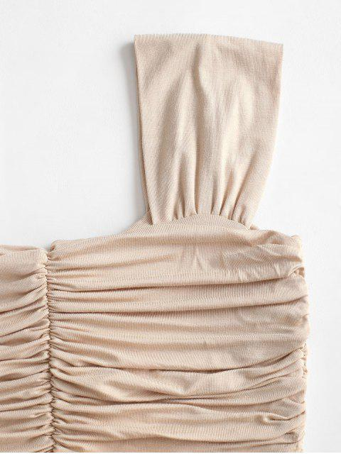 new Solid Gathered Ruched Top - APRICOT ONE SIZE Mobile
