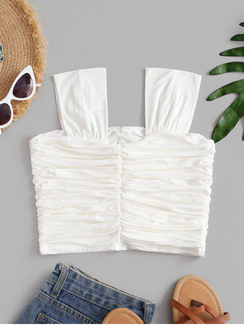 best Solid Gathered Ruched Top - WHITE ONE SIZE Mobile