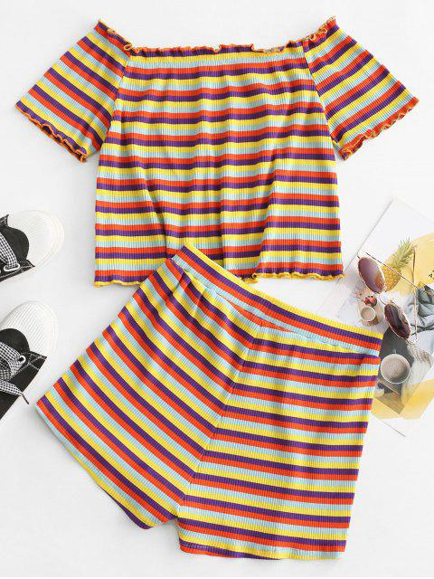 trendy ZAFUL Colorful Stripes Ribbed Off Shoulder Two Piece Set - MULTI-A M Mobile