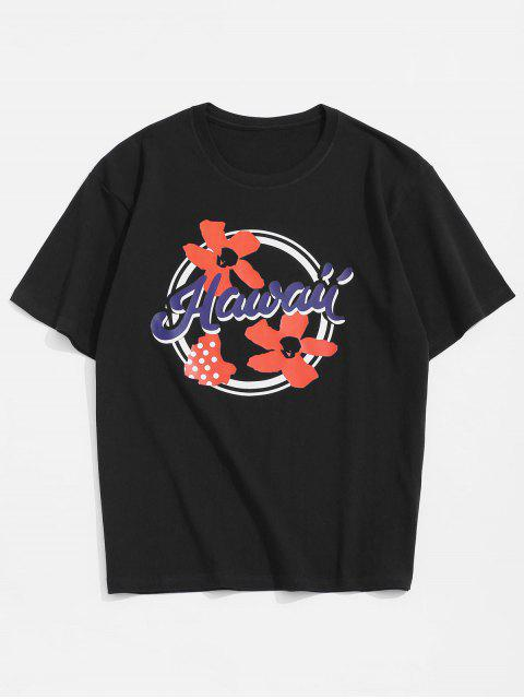 trendy Flower Hawaii Graphic Basic T-shirt - BLACK 2XL Mobile