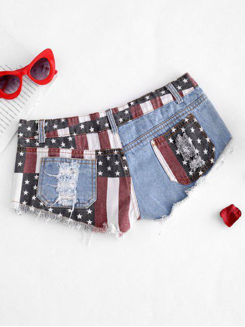 womens American Flag Frayed Ripped Mini Denim Shorts - BLUE L Mobile