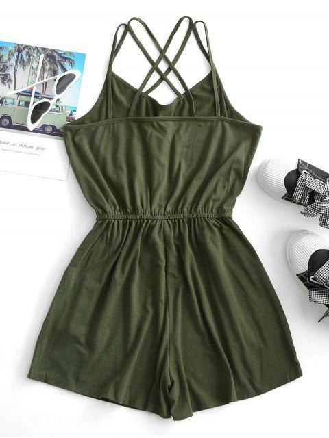 shop Straps Caged Back Tie Cami Pocket Romper - ARMY GREEN S Mobile