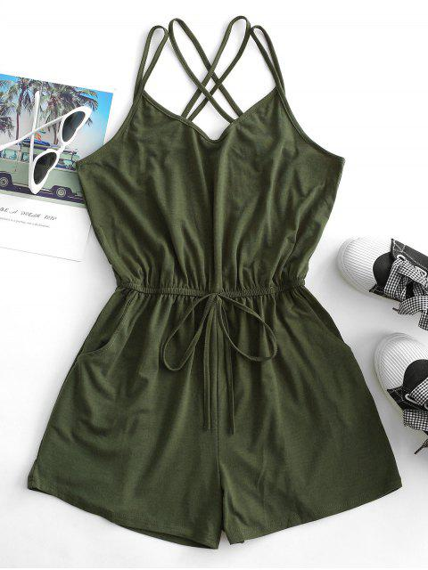 women Straps Caged Back Tie Cami Pocket Romper - ARMY GREEN L Mobile