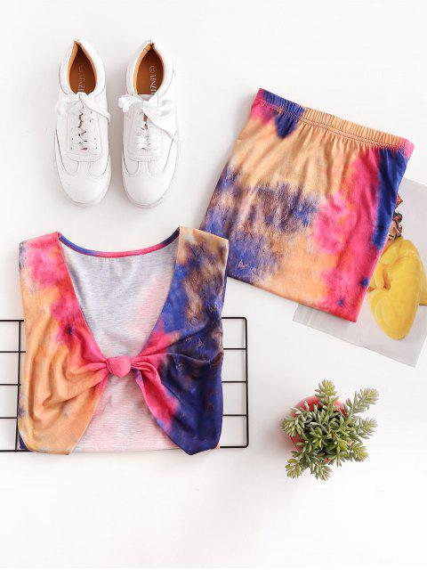shops ZAFUL Tie Dye Knotted Bodycon Skirt Set - MULTI-A S Mobile
