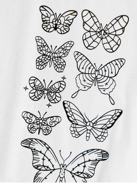 ZAFUL T-shirt de Manga Curta com Padrão de Borboleta - Branco M Mobile