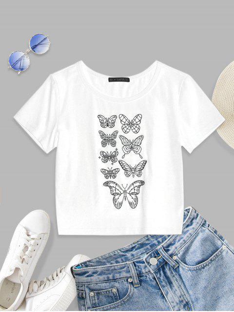 lady ZAFUL Butterfly Pattern Short Sleeve T-shirt - WHITE S Mobile