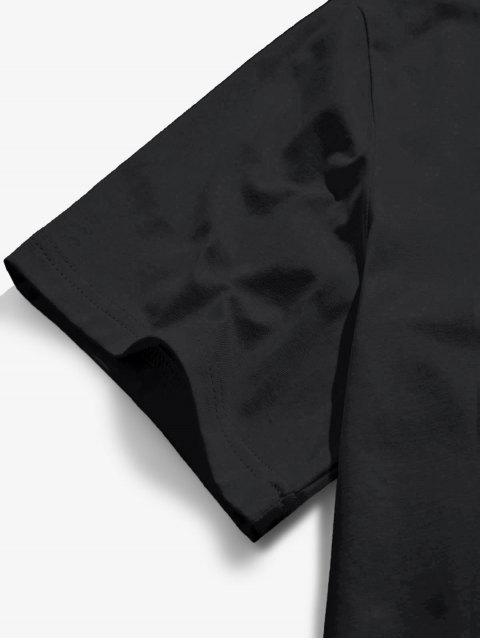 latest ZAFUL Letter Printed Short Sleeves T-shirt - BLACK L Mobile