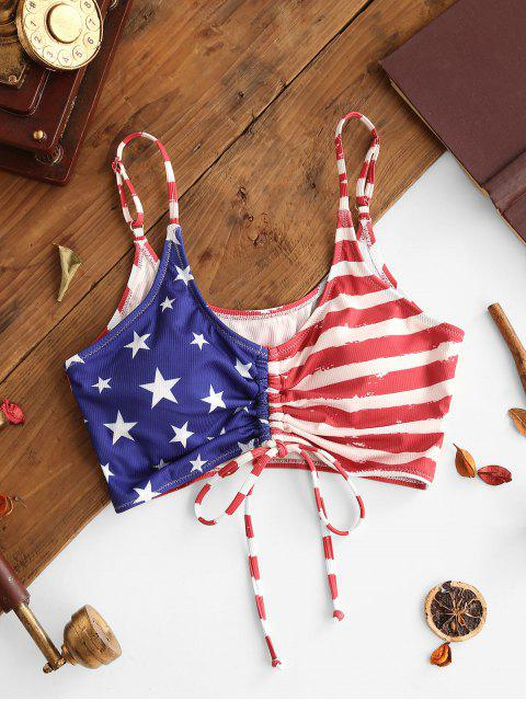 ZAFUL Patriotic American Flag Cinched Ribbed Swim Top - متعددة-A S Mobile