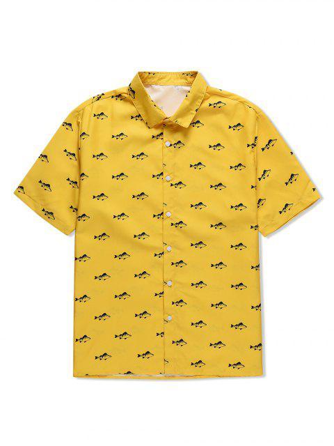 new Fish Print Button Short Sleeves Shirt - YELLOW 2XL Mobile