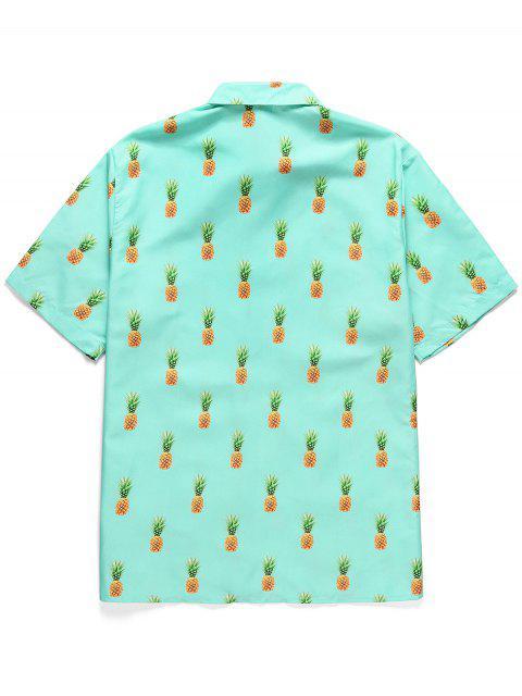 fashion Pineapple Print Button Short Sleeves Shirt - MEDIUM TURQUOISE M Mobile