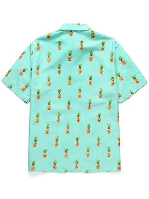 chic Pineapple Print Button Short Sleeves Shirt - MEDIUM TURQUOISE L Mobile