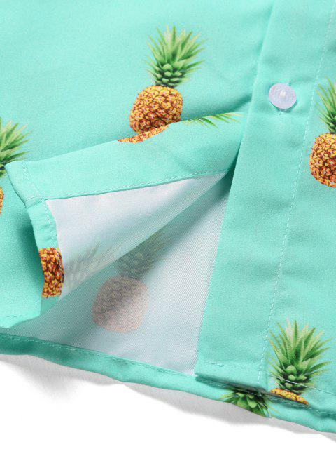 Chemise Ananas Imprimé à Manches Courtes avec Bouton - Turquoise Moyenne  XL Mobile