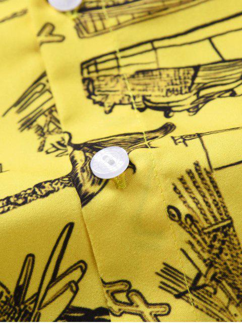 ladies Boat Print Button Short Sleeves Shirt - YELLOW 2XL Mobile