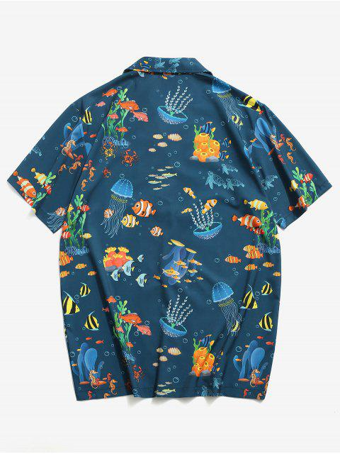 Marine Leben Alloverdruck Urlaub Hemd - Blaugrün 2XL Mobile