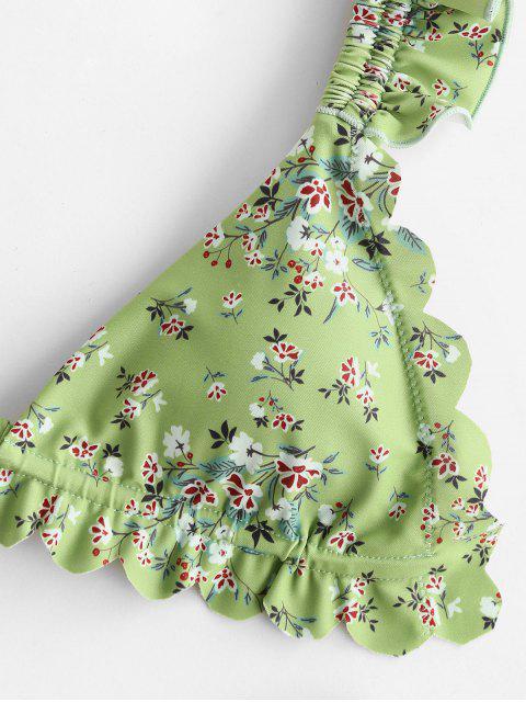 hot ZAFUL Floral Ruffle High Leg Bikini Swimwear - LIGHT GREEN S Mobile