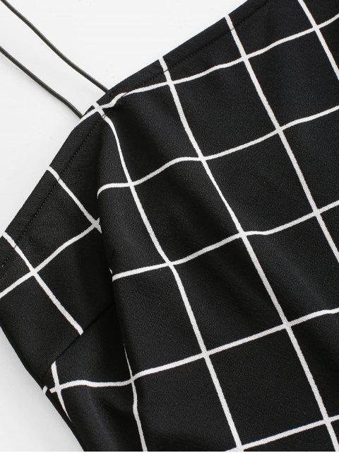 women Bungee Strap Grid Romper - BLACK M Mobile