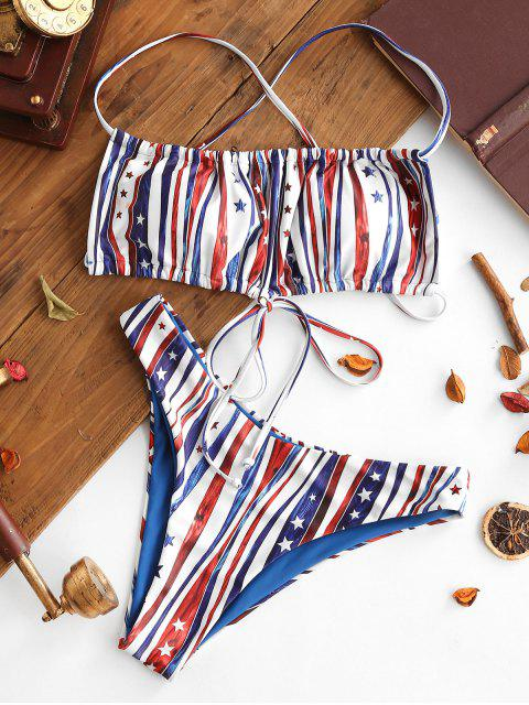 fashion ZAFUL Patriotic American Flag Crisscross Bikini Swimwear - MULTI-A S Mobile