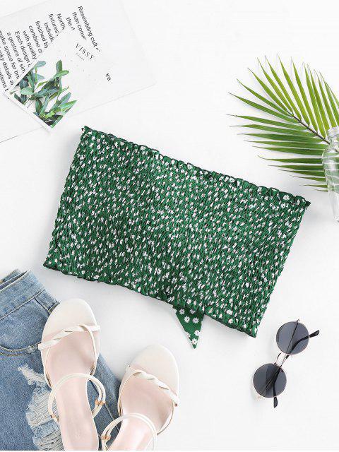 ZAFUL Haut Tube Court Fleuri Imprimé à Volants avec Nœud Papillon - Vert Tortue de Mer L Mobile