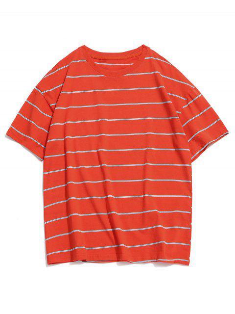 T-Shirt Casuale a Righe con Collo Rotondo - Arancia Zucca M Mobile