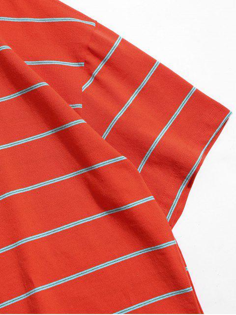 T-Shirt Casuale a Righe con Collo Rotondo - Arancia Zucca XL Mobile