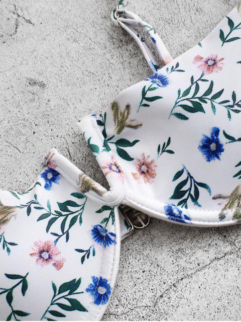 ladies ZAFUL Plant Print V-notch Underwire Balconette Bikini Swimwear - MULTI-A M Mobile