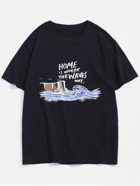 Home Waves Paint Graphic Basic T-shirt - أسود 2XL Mobile