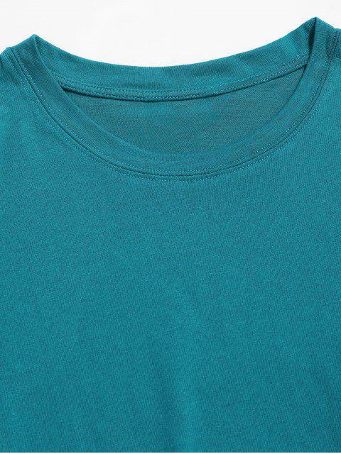 T-shirt Clássico de Impressão de Colar Redondo - Oceano Azul 2XL Mobile