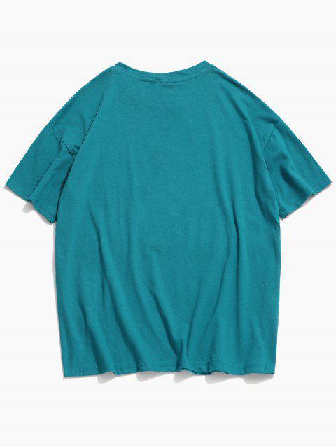 T-shirt Clássico de Impressão de Colar Redondo - Oceano Azul 3XL Mobile