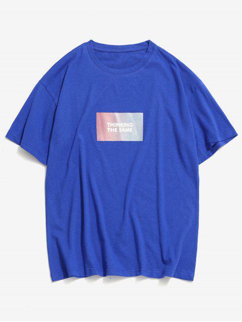 Camiseta emagrecedora de mangas longas com estampa de chave na gola - Azul 2XL Mobile