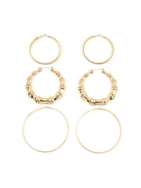 3Pairs Bamboo Rhinestone Exaggerated Hoop Earrings - Ouro  Mobile