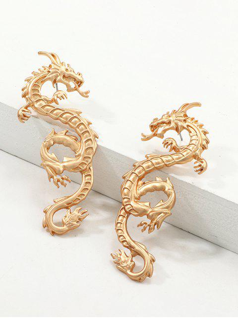 women's Carved Dragon Stud Earrings - GOLD  Mobile