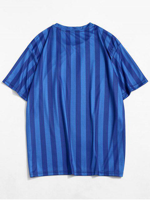 T-Shirt Casuale a Righe con Maniche Corte - Blu Mirtillo 2XL Mobile