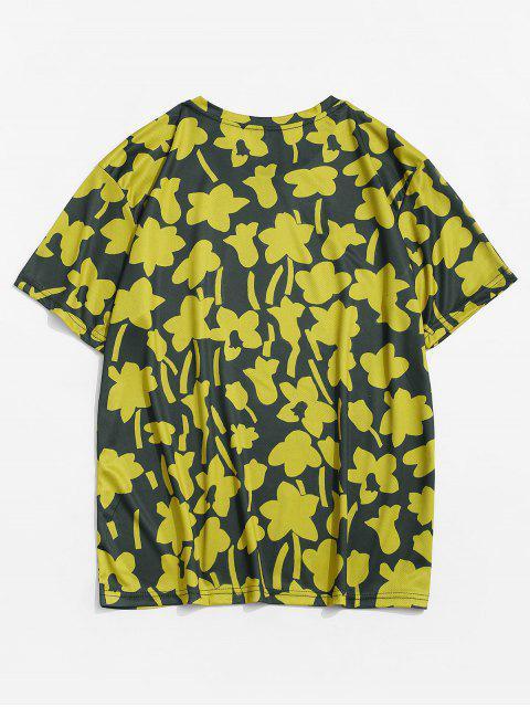 Camiseta Casual de Flores con Cuello Redondo con Mangas Cortas - Amarillo de Sol  XL Mobile