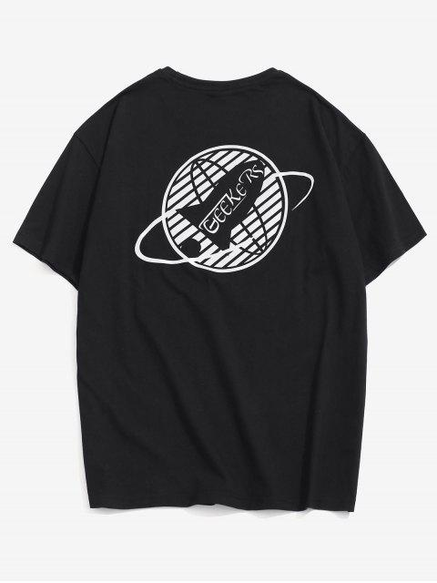 fashion Fluorescence Graphic Print Basic T-shirt - BLACK XL Mobile