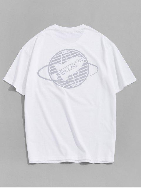 Fluoreszenz Grafikdruck Basik T-Shirt - Weiß XL Mobile