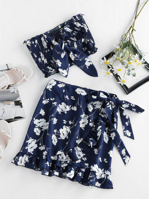 latest ZAFUL Flower Tied Smocked Ruffle Bandeau Skirt Set - CADETBLUE L Mobile